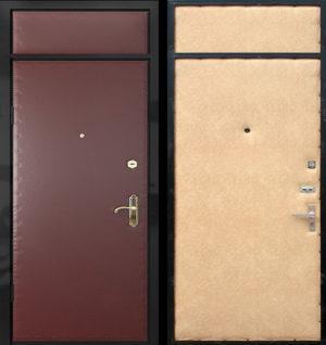 Входная металлическая дверь винилискожа, с верхней вставкой СП003